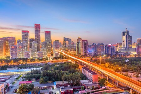 Photo for Beijing, China modern financial district cityscape at dusk. - Royalty Free Image