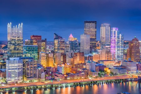 Pittsburgh, Pennsylvania, USA skyline on the River.