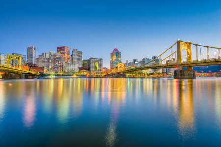 Pittsburgh, Pennsylvania, USA skyline on the Allegheny River.