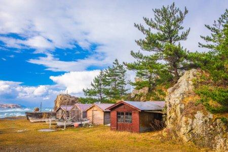 Wajima, Hokuriku, Japan old fishing shacks.