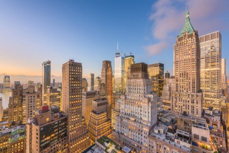 Photo for New York, New York, USA Lower Manhattan financial district cityscape from above at twilight. - Royalty Free Image