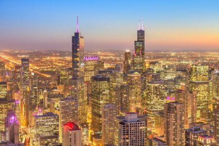 Photo for Chicago, Illinois, USA downtown city skyline from above at dusk. - Royalty Free Image