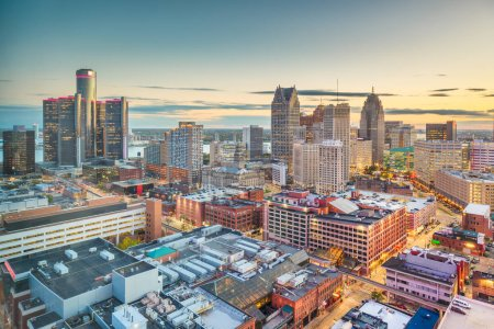 Photo for Detroit, Michigan, USA downtown skyline from above at dusk. - Royalty Free Image