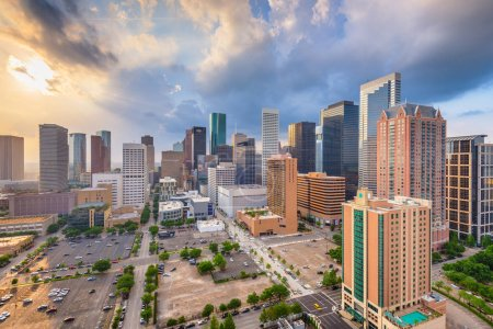 Photo for Houston, Texas, USA downtown city skyline at twilight. - Royalty Free Image