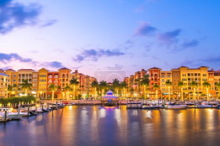 Photo for Naples, Florida, USA downtown skyline at dusk. - Royalty Free Image