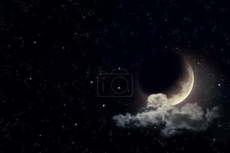 Photo for Night sky with stars and moon. Elements of this image furnished by NASA - Royalty Free Image