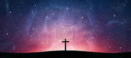 Photo for Wooden cross over abstract sky background. Christian concept - Royalty Free Image