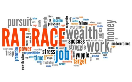 Rat race - career and promotion pursuit. Employment word cloud.