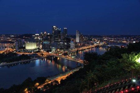 Pittsburgh city skyline, Pennsylvania. Night view with Monongahela river.