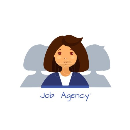 Photo for Illustration of a recruitment agency, business woman in a blue suit - Royalty Free Image