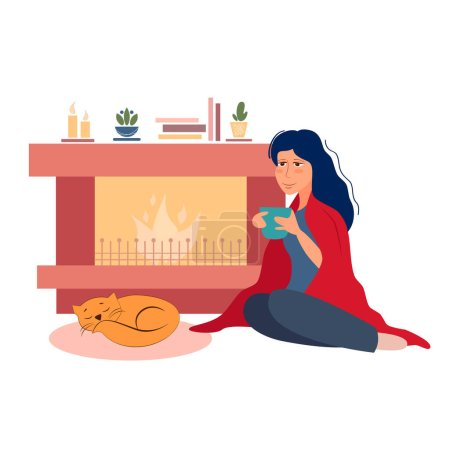 Photo for Vector illustration girl drinks coffee and basks by the fireplace - Royalty Free Image