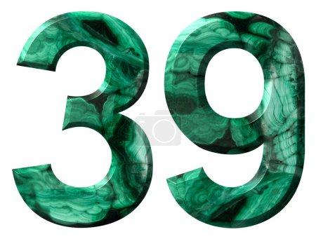 Photo pour Chiffre arabe 39, trente neuf, de malachite verte naturelle, isolé sur fond blanc - image libre de droit