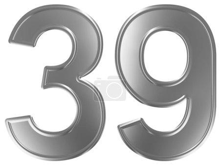 Photo pour Chiffre 39, trente neuf, isolé sur fond blanc, rendu 3d - image libre de droit