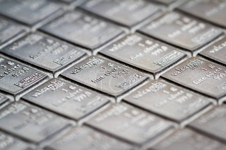 Medford, Oregon - November 04: Close up of a Valcambi silver bar perforated into breakable 1 oz pieces of silver. November 04, Medford, Oregon.
