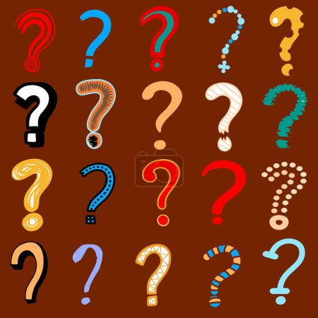 Set of doodle drawings of question marks. Collection of interrog