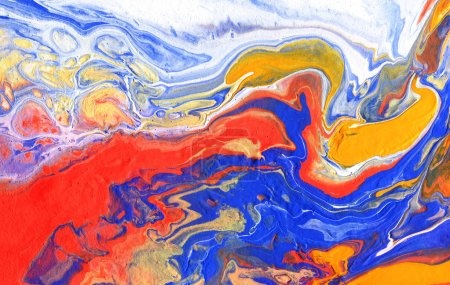Acrylic pouring.  Multicolor colourful background. Hand-drawn illustration.