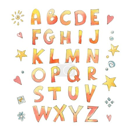 The letters of the English alphabet with a naive style isolated on white background. Watercolor illustration.