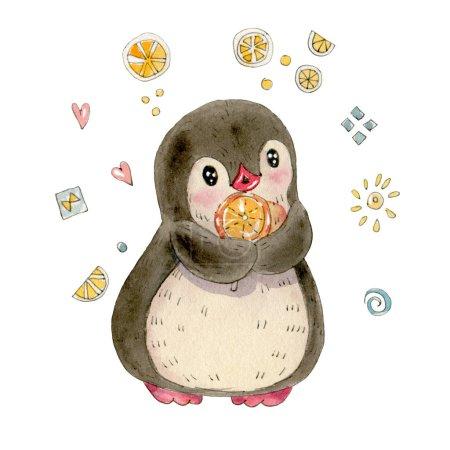 Photo pour Illustration d'hiver avec un drôle de pingouin dessin animé avec des bonbons isolés sur un fond blanc. Dessin à l'aquarelle et encre . - image libre de droit