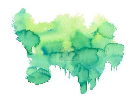Green Watercolor spot, isolated on a white background.   Hand-drawn illustration.