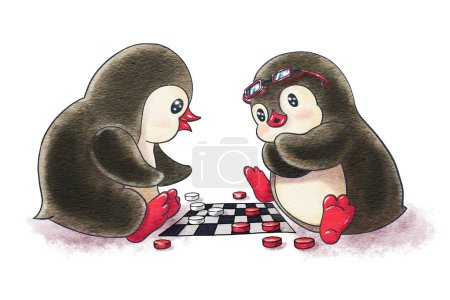 Two cartoon penguins are playing and checkers.  Watercolor and ink drawing