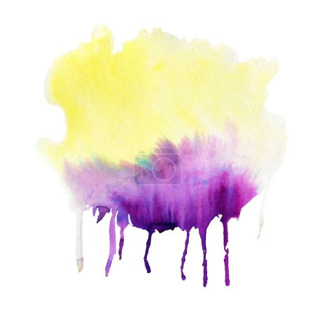Purple and yellow Watercolor spot, isolated on a white background.  Hand-drawn illustration.