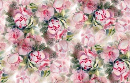 Foto de Seamless pattern with watercolor flowers.  Peonies. Hand-drawn illustration. - Imagen libre de derechos
