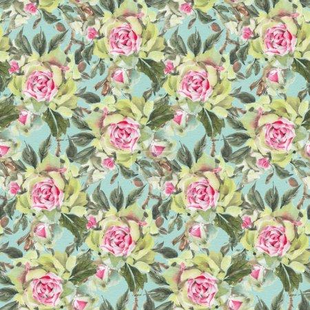 Photo pour Modèle sans couture avec aquarelles roses. Illustration dessinée à la main. - image libre de droit