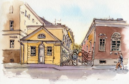 Photo for City landscape.  Sketch ink and watercolor. Hand-drawn illustration. - Royalty Free Image