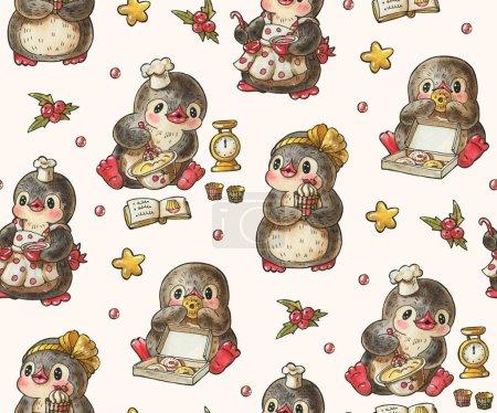Photo pour Modèle sans couture avec des pingouins mignons. Dessin dessiné à la main avec aquarelle et encre. - image libre de droit