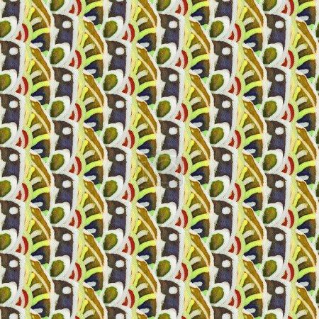 Photo pour Le motif batik complexe avec la texture du tissu. Modèle sans couture. Illustration dessinée à la main. - image libre de droit