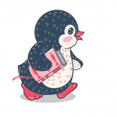 Funny cartoon penguin on skis with a book Vector illustration