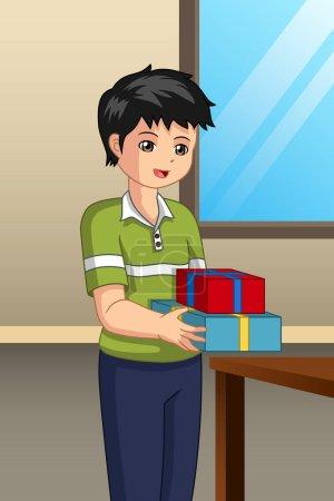 Illustration pour Une illustration vectorielle de Garçon portant un cadeau - image libre de droit