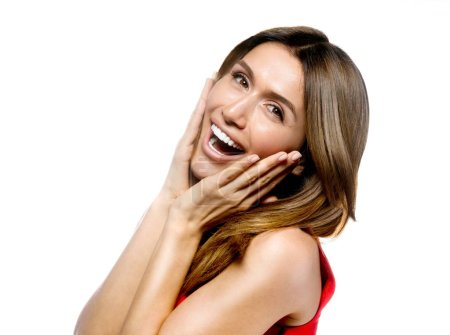 Photo for Portrait of attractive caucasian smiling woman isolated on white studio shot  toothy smile face long hair head and shoulders looking at camera happy - Royalty Free Image
