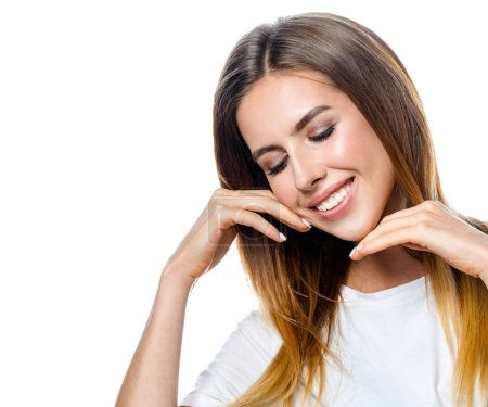 Photo for Beauty portrait of attractive young caucasian smiling woman brunette isolated on white studio shot  lips toothy smile facer head and shoulders cheerful teeth neck hand eyes closed - Royalty Free Image