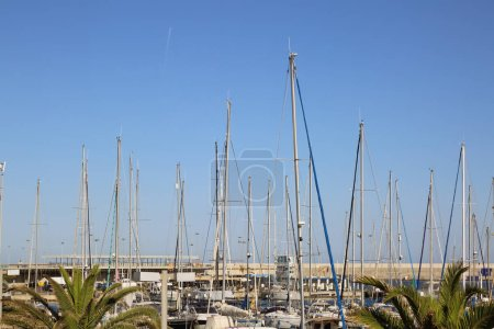 Photo for VALENCIA, SPAIN - JUNE 20, 2018: Beautiful view on yachts and sea port at summer season in Valencia,Spain - Royalty Free Image