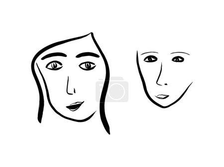 Photo pour Ligne d'art graphique dessinée à la main, sertie de portraits de femmes - image libre de droit