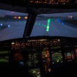 Pilot's hand accelerating on the throttle in  a co...