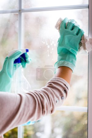 Young Smiling Woman Washing Window with Sponge