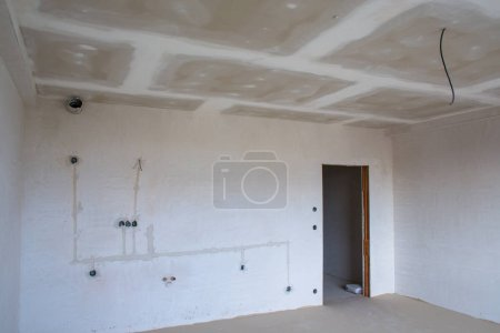 Photo for Interior empty apartment room n a new building renovation or under construction - Royalty Free Image
