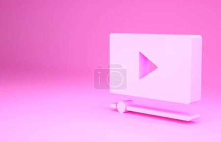 Photo for Pink Online play video icon isolated on pink background. Film strip with play sign. Minimalism concept. 3d illustration 3D render. - Royalty Free Image