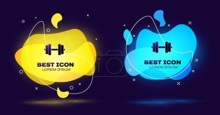 Black Dumbbell icon isolated. Muscle lifting icon,...