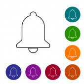 Grey Ringing bell line icon isolated on white background Alarm symbol service bell handbell sign notification symbol Vector Illustration