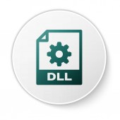 Green DLL file document icon Download dll button icon isolated on white background DLL file symbol White circle button Vector Illustration