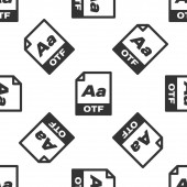 Grey OTF file document icon Download otf button icon isolated seamless pattern on white background OTF file symbol Vector Illustration