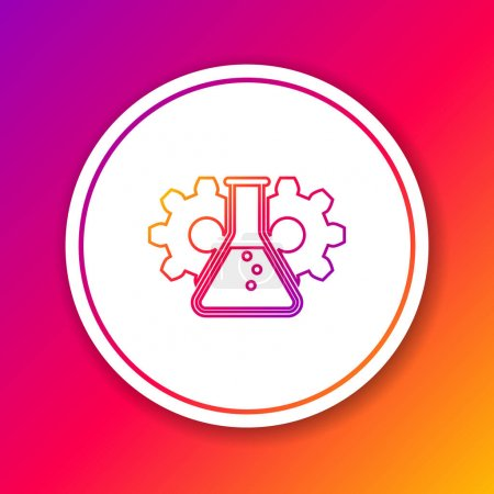 Color Bioengineering line icon isolated on color b...