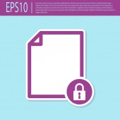 Retro purple Document and lock icon isolated on turquoise background File format and padlock Security safety protection concept Vector Illustration