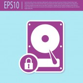 Retro purple Hard disk drive and lock icon isolated on turquoise background HHD and padlock Security safety protection concept Vector Illustration
