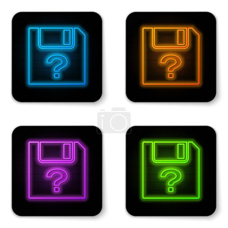Glowing neon Unknown document icon isolated on white background. File with Question mark. Hold report, service and global search sign. Black square button. Vector Illustration