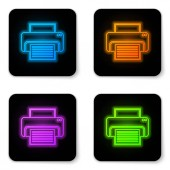 Glowing neon Printer icon isolated on white background Black square button Vector Illustration