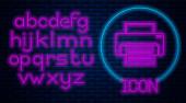 Glowing neon Printer icon isolated on brick wall background Neon light alphabet Vector Illustration